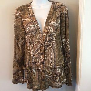 Susan Graver Lightweight Knit Cardigan Jacket - L